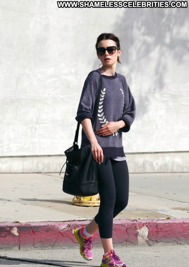 Lily Collins Gym In La Celebrity Gym Posing Hot Beautiful Babe High