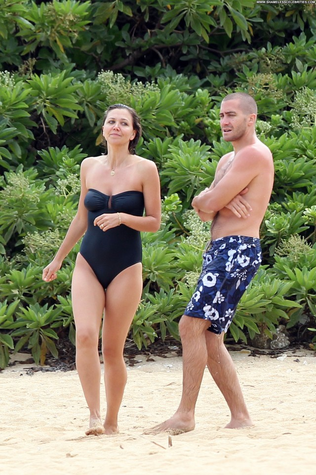 Maggie Gyllenhaal The Beach Beautiful Beach Swimsuit Celebrity High